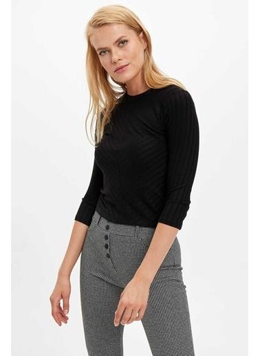 DeFacto Slim Fit Uzun Kollu T-sirt Siyah